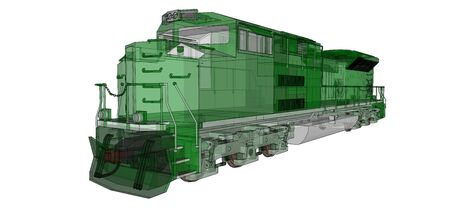 Modern green diesel railway locomotive with great power and strength for moving long and heavy railroad train. 3d rendering. Stock fotó - 129829917