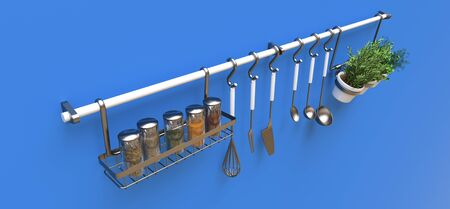 Kitchenware, dry bulk and live seasonings in pots hang on the wall. 3d rendering. Stock Photo