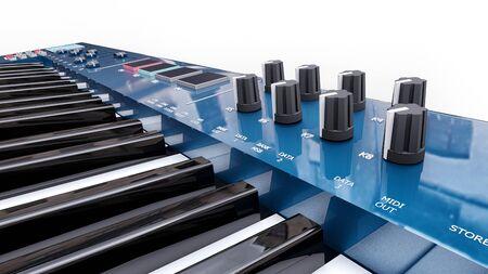 Blue synthesizer MIDI keyboard on white background. Synth keys close-up. 3d rendering. Zdjęcie Seryjne - 129829940