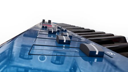 Blue synthesizer MIDI keyboard on white background. Synth keys close-up. 3d rendering. Zdjęcie Seryjne - 129829941