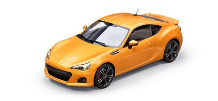 Yellow small sports car coupe. 3d rendering