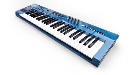 Blue synthesizer MIDI keyboard on white background. Synth keys close-up. 3d rendering Zdjęcie Seryjne - 129829969