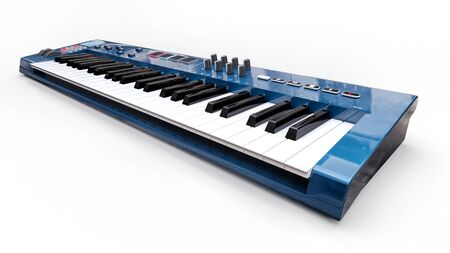 Blue synthesizer MIDI keyboard on white background. Synth keys close-up. 3d rendering