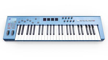 Blue synthesizer MIDI keyboard on white background. Synth keys close-up. 3d rendering Zdjęcie Seryjne - 129830002