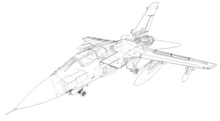 Military jet fighter silhouettes. Image of aircraft in contour drawing lines. The internal structure of the aircraft. 3d rendering. Stok Fotoğraf
