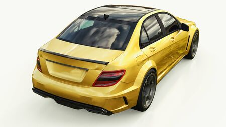 Super fast sports car color gold metallic on a white background. Body shape sedan. Tuning is a version of an ordinary family car. 3d rendering Stock Photo