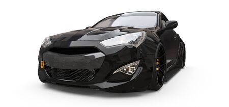 Black small sports car coupe. 3d rendering