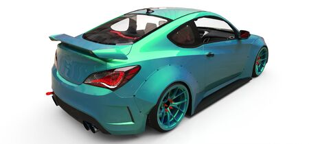 Green small sports car coupe. 3d rendering Stok Fotoğraf