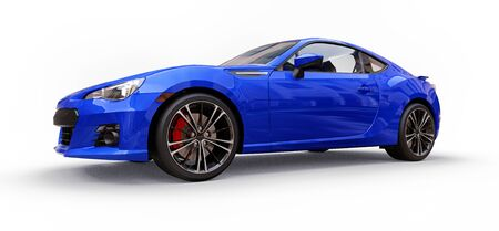 Blue small sports car coupe. 3d rendering Stok Fotoğraf - 129830076