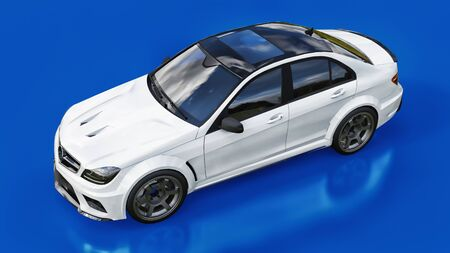 Super fast white sports car on a blue background. Body shape sedan. Tuning is a version of an ordinary family car. 3d rendering Stock fotó
