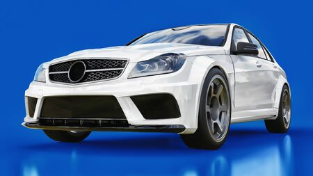 Super fast white sports car on a blue background. Body shape sedan. Tuning is a version of an ordinary family car. 3d rendering Stock Photo