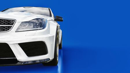 Super fast white sports car on a blue background. Body shape sedan. Tuning is a version of an ordinary family car. 3d rendering Фото со стока