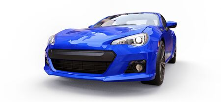 Blue small sports car coupe. 3d rendering Stok Fotoğraf