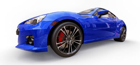 Blue small sports car coupe. 3d rendering Stok Fotoğraf - 129830108