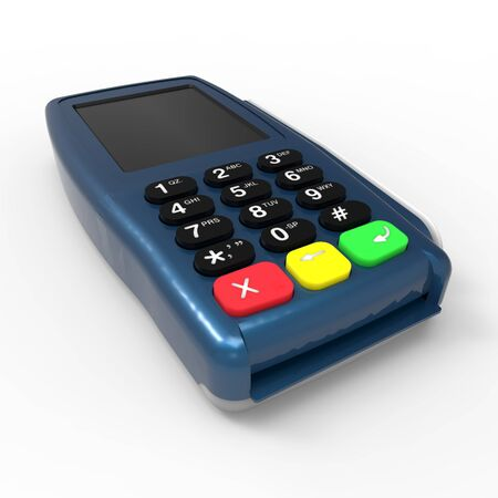 Card payment terminal. POS terminal isolated on white background. 3d rendering Zdjęcie Seryjne - 129830110