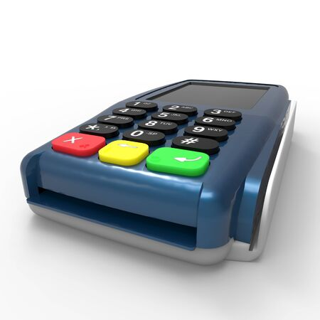 Card payment terminal. POS terminal isolated on white background. 3d rendering Фото со стока