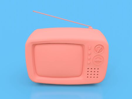 Cute old pink tv with antenna on a blue background. 3d illustration