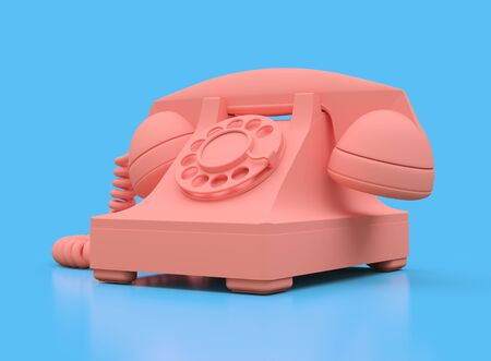 Old pink dial telephone on a blue background. 3d illustration