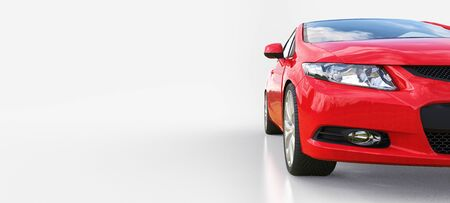 Red small sports car coupe. 3d rendering Stok Fotoğraf - 129830182