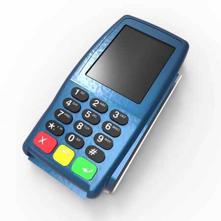 Card payment terminal. POS terminal isolated on white background. 3d rendering Stok Fotoğraf