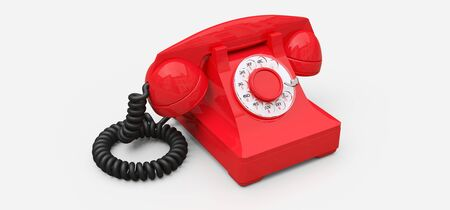 Old red dial telephone on a white background. 3d illustration