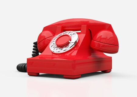 Old red dial telephone on a white background. 3d illustration Фото со стока - 129830190