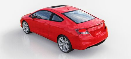 Red small sports car coupe. 3d rendering Stok Fotoğraf
