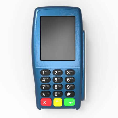 Card payment terminal. POS terminal isolated on white background. 3d rendering Zdjęcie Seryjne - 129830201