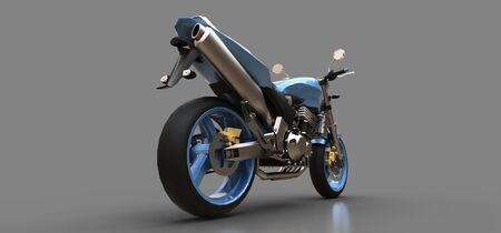 Blue urban sport two-seater motorcycle on a gray background. 3d illustration