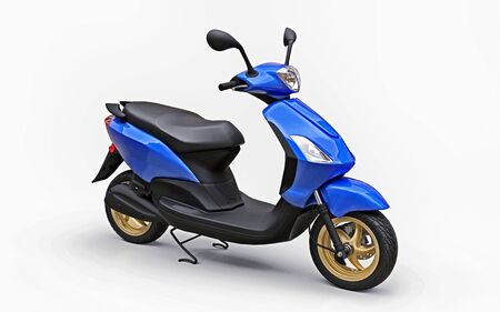 Modern urban blue moped on a white background. 3d illustration