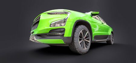 3D illustration of green concept cargo pickup truck on grey isolated background. 3d rendering