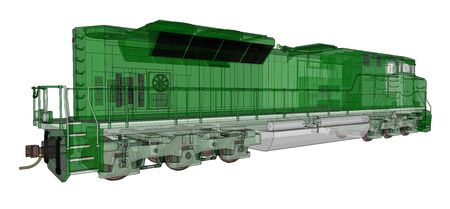 Modern green diesel railway locomotive with great power and strength for moving long and heavy railroad train. 3d rendering
