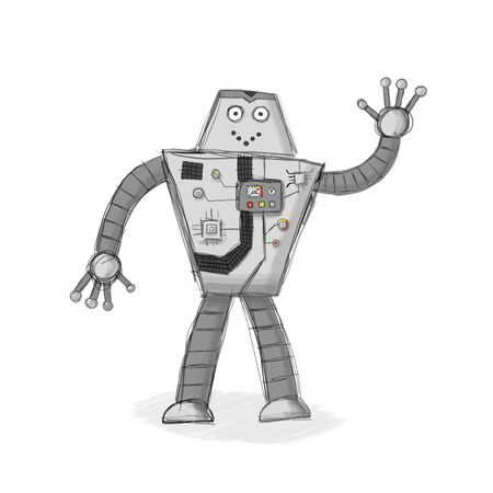 Cheerful gray robot drawn by hand. The robot is waving. Gray hatching as background. There are many devices and buttons on the robot