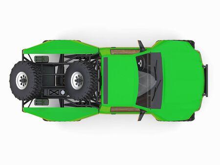 Most prepared green sports race truck for the desert terrain. 3d illustration