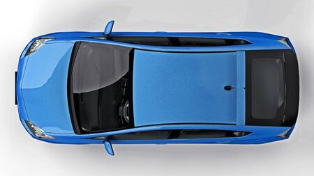 Modern family hybrid blue car on a white background with a shadow on the ground. 3d rendering Banco de Imagens
