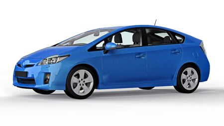 Modern family hybrid blue car on a white background with a shadow on the ground. 3d rendering. Banco de Imagens - 132435464
