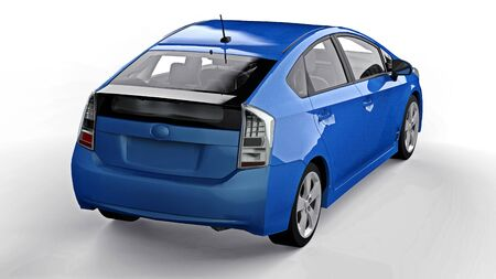 Modern family hybrid blue car on a white background with a shadow on the ground. 3d rendering. Banco de Imagens