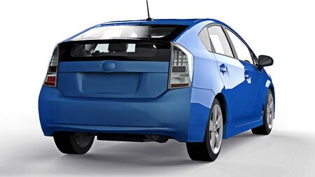 Modern family hybrid blue car on a white background with a shadow on the ground. 3d rendering. Banco de Imagens - 132435614