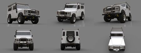 Set white old small SUV tuned for difficult routes and expeditions. 3d rendering