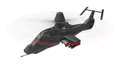 Modern army helicopter in flight with a full complement of weapons on a white background. 3d illustration Stock fotó