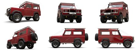 Set red old small SUV tuned for difficult routes and expeditions. 3d rendering Stock fotó