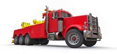 Red cargo tow truck to transport other big trucks or various heavy machinery. 3d rendering Stock fotó