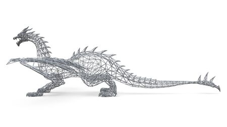 Big dragon stands on the ground. Three-dimensional illustration of the polygonal mesh on a white background. 3d illustration