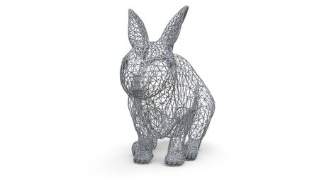 Three-dimensional model of a rabbit in the form of a spatial framework. The frame is made of triangles. Modern art, a mixture of wildlife and computer graphics. 3d illustration