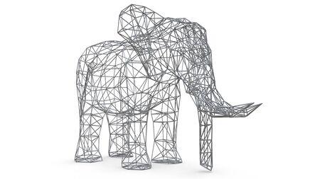 Elephant on a white background. Low polygon 3d illustration Stock fotó