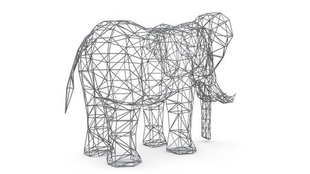 Elephant on a white background. Low polygon 3d illustration Stock Photo