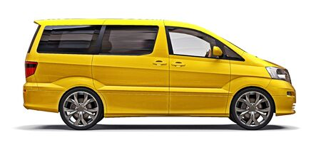 Yellow small minivan for transportation of people. Three-dimensional illustration on a white background. 3d rendering Stock fotó