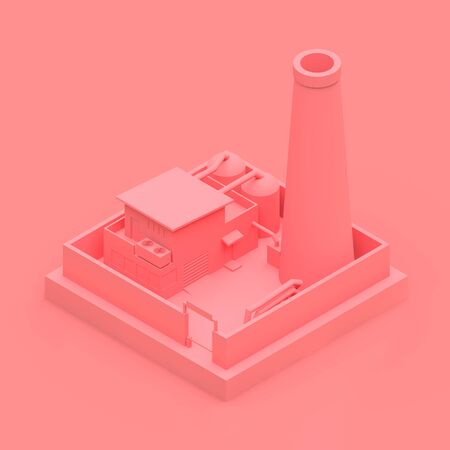 Isometric cartoon factory in the style of Minimal. Pink building on a pink background. 3d rendering