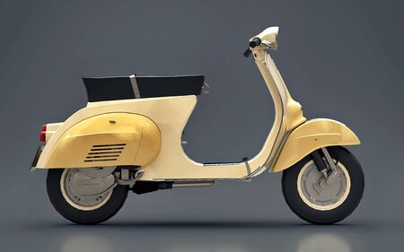 Vintage european gold scooter on a gray background. 3d rendering