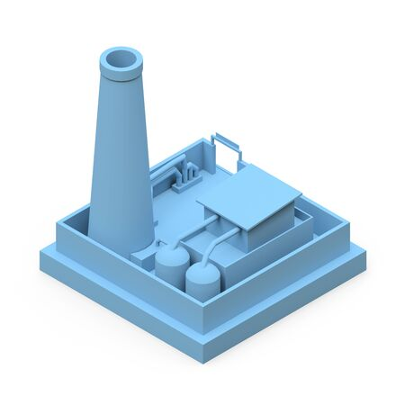 Isometric cartoon factory in the style of Minimal. Blue building on a white background. 3d rendering